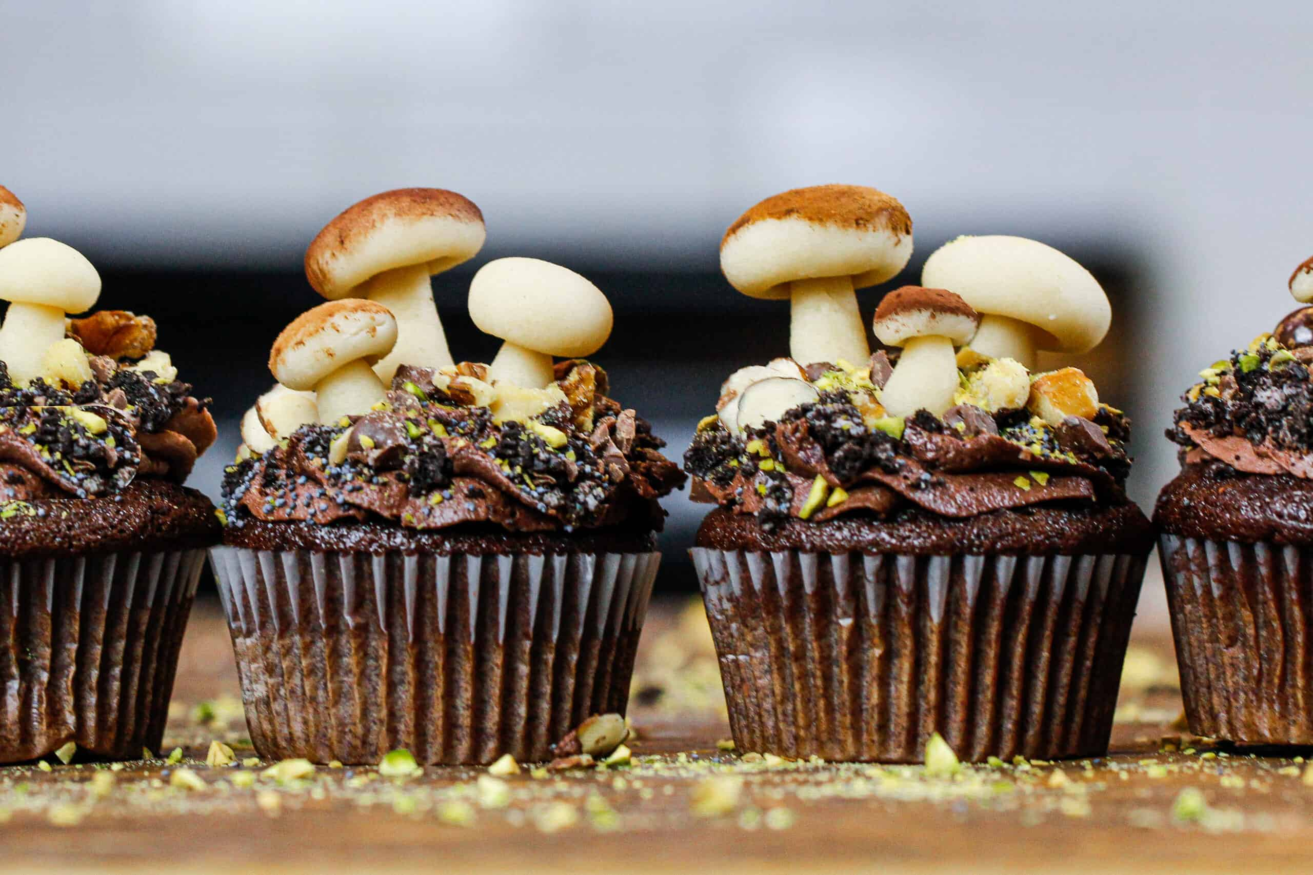 image of mushroom cupcakes made with chocolate buttercream and edible marzipan mushrooms