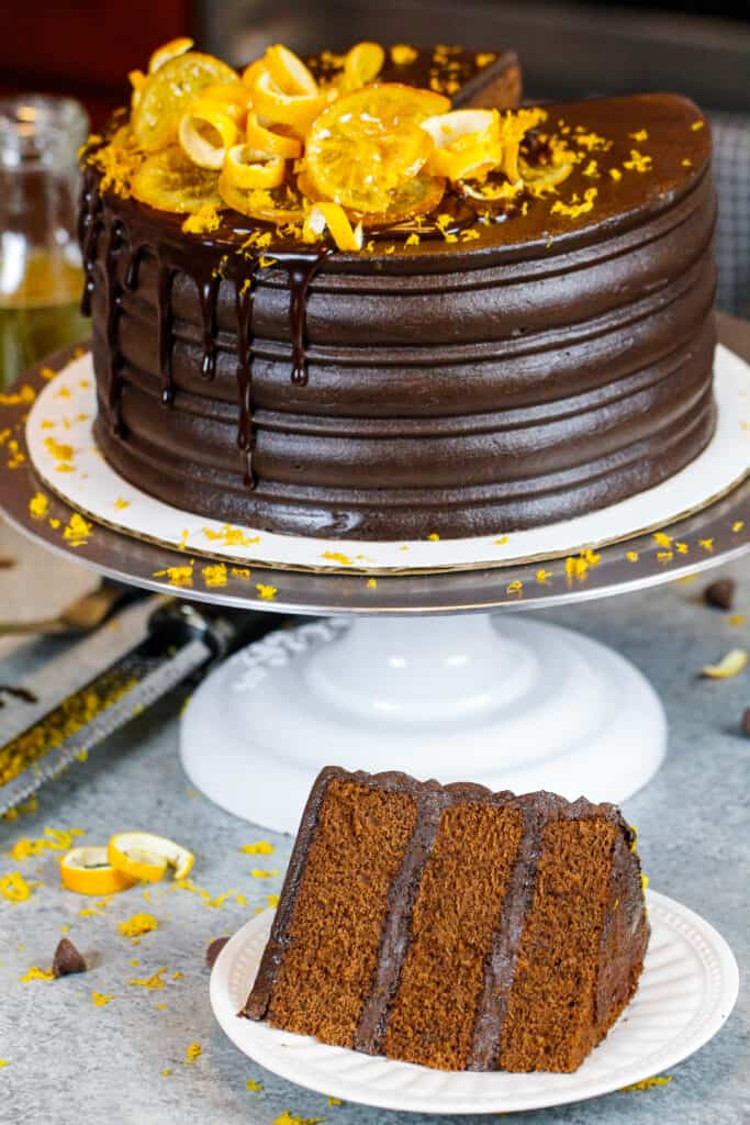 image of chocolate orange cake made with chocolate orange buttercream frosting