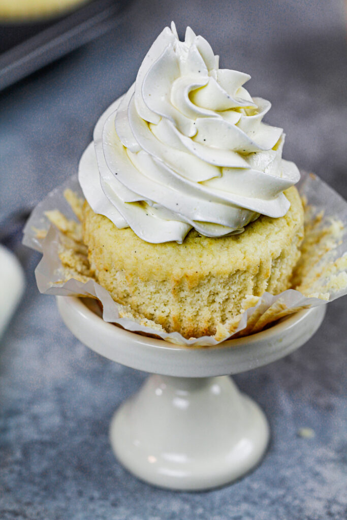 image of sugar free cupcake frosted with sugar free buttercream frosting