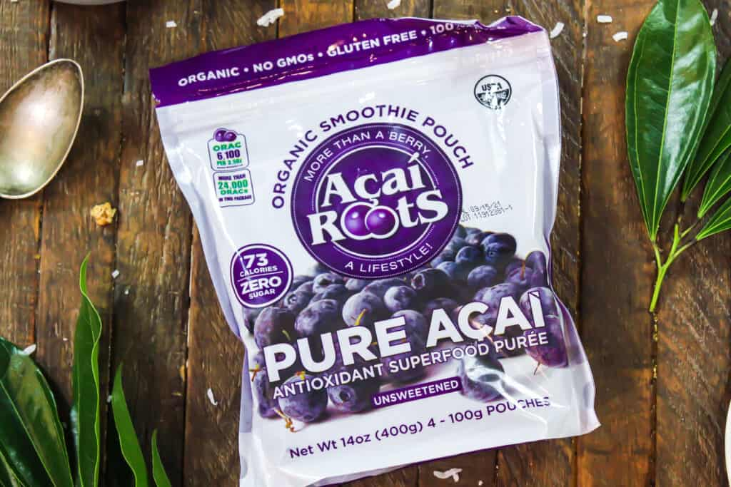 image of frozen unsweetened acai ready to be used to make a peanut butter acai bowl