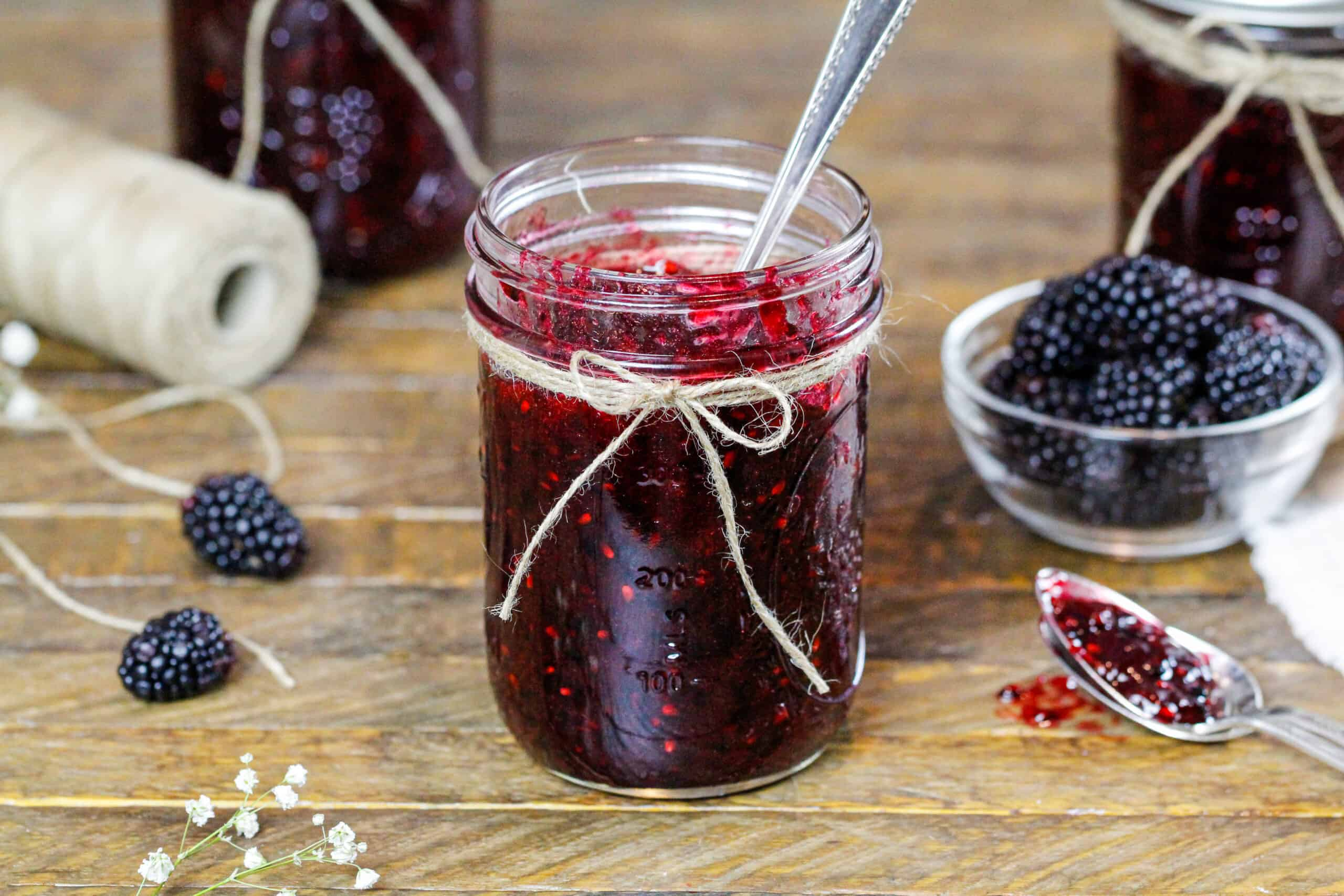 image of blackberry freezer jam that has set and is ready to be eaten