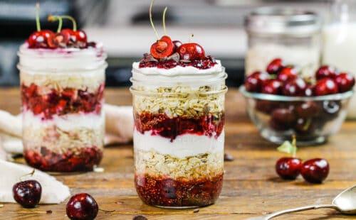 image of cherry overnight oats made with fresh cherries, chia seeds and greek yogurt