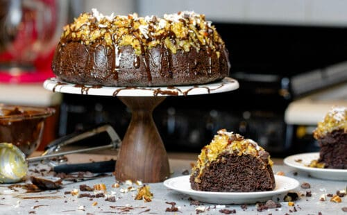 image of german chocolate pound cake decorate with a chocolate glaze