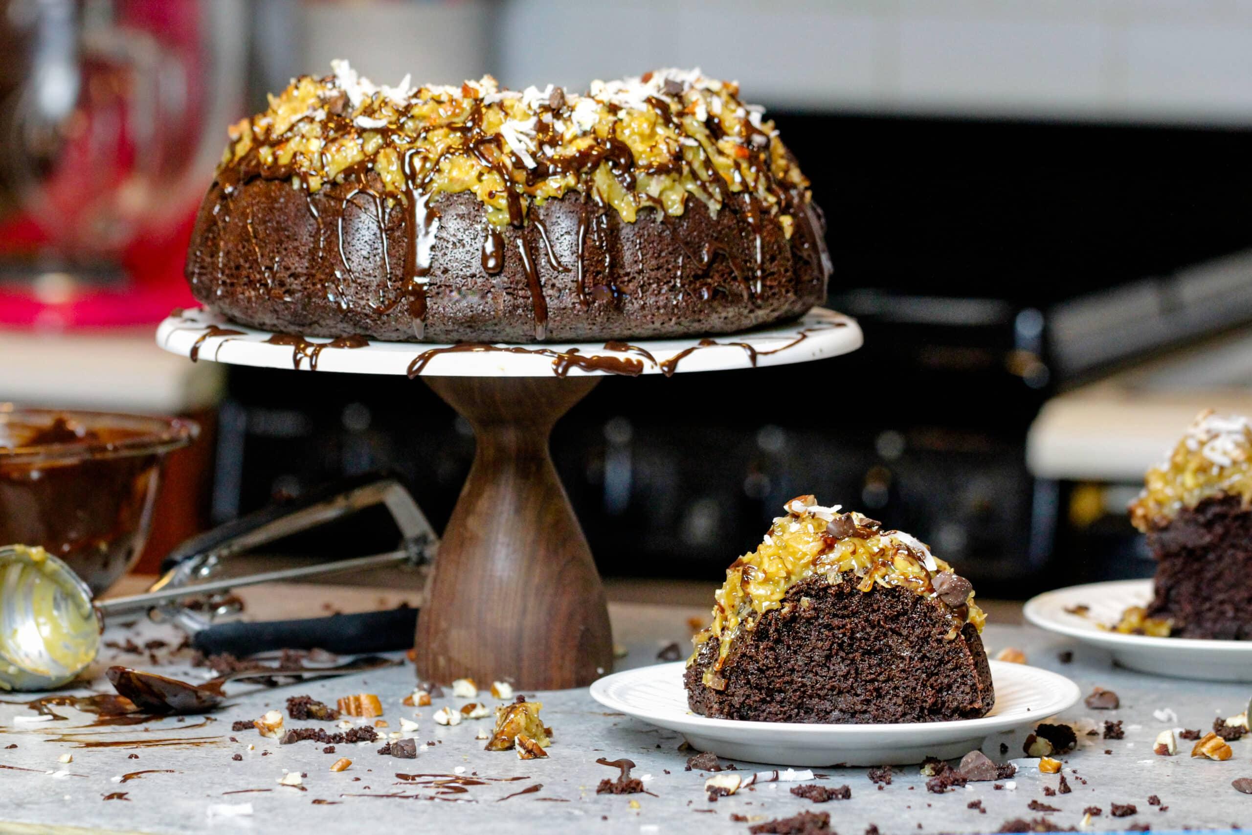 image of german chocolate pound cake decorate with a chocolate glaze