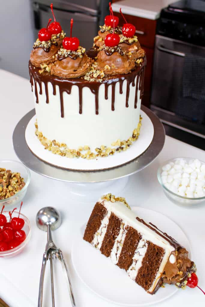image of a rocky road cake that's been cut into to show the fluffy chocolate cake layers and marshmallow nut filling