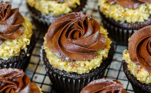 image of the best german chocolate cupcake recipe