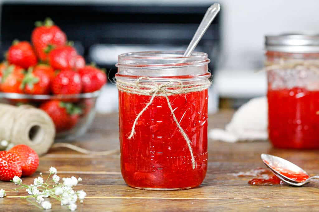image of certo strawberry freezer jam that has set and is ready to be eaten