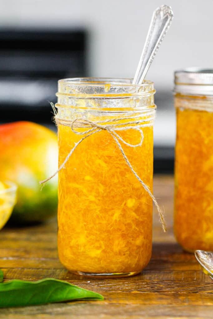 image of mango jam made in a pretty mason jar