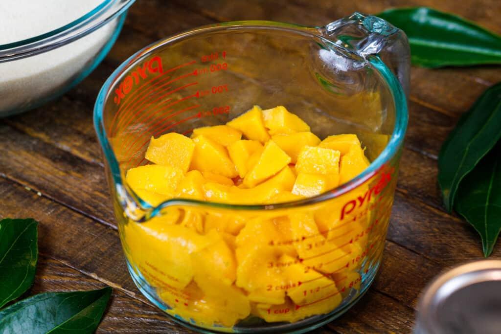 image of mango chunks cut up to be made into mango jam