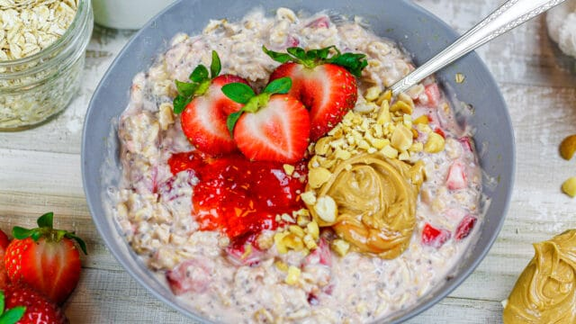 image of toppings added to peanut butter and jelly overnight oats