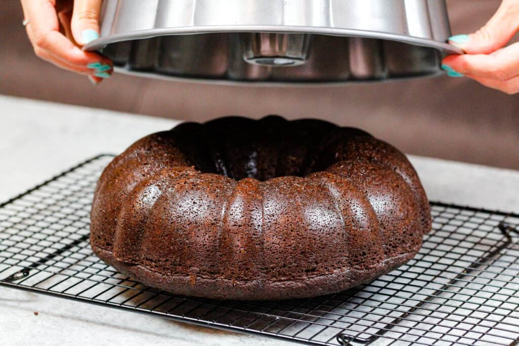 image of a bundt cake easily releasing from a bundt pan that was properly greased