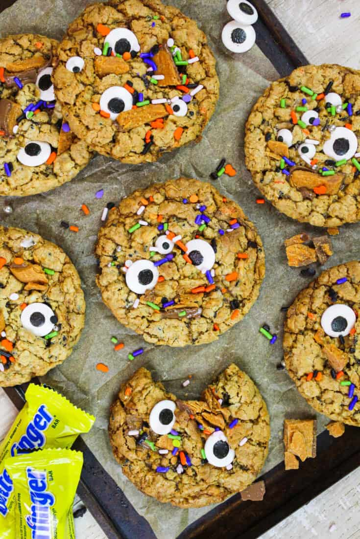 image of monster cookies made with butterfinger baking bits