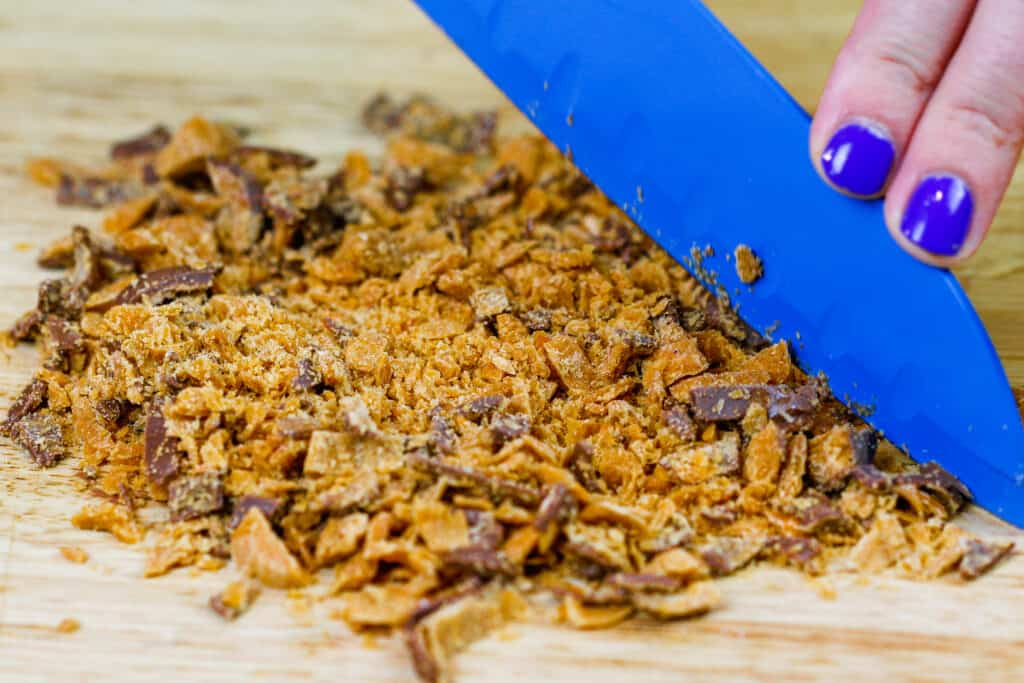 image of a butterfinger bar being chopped up