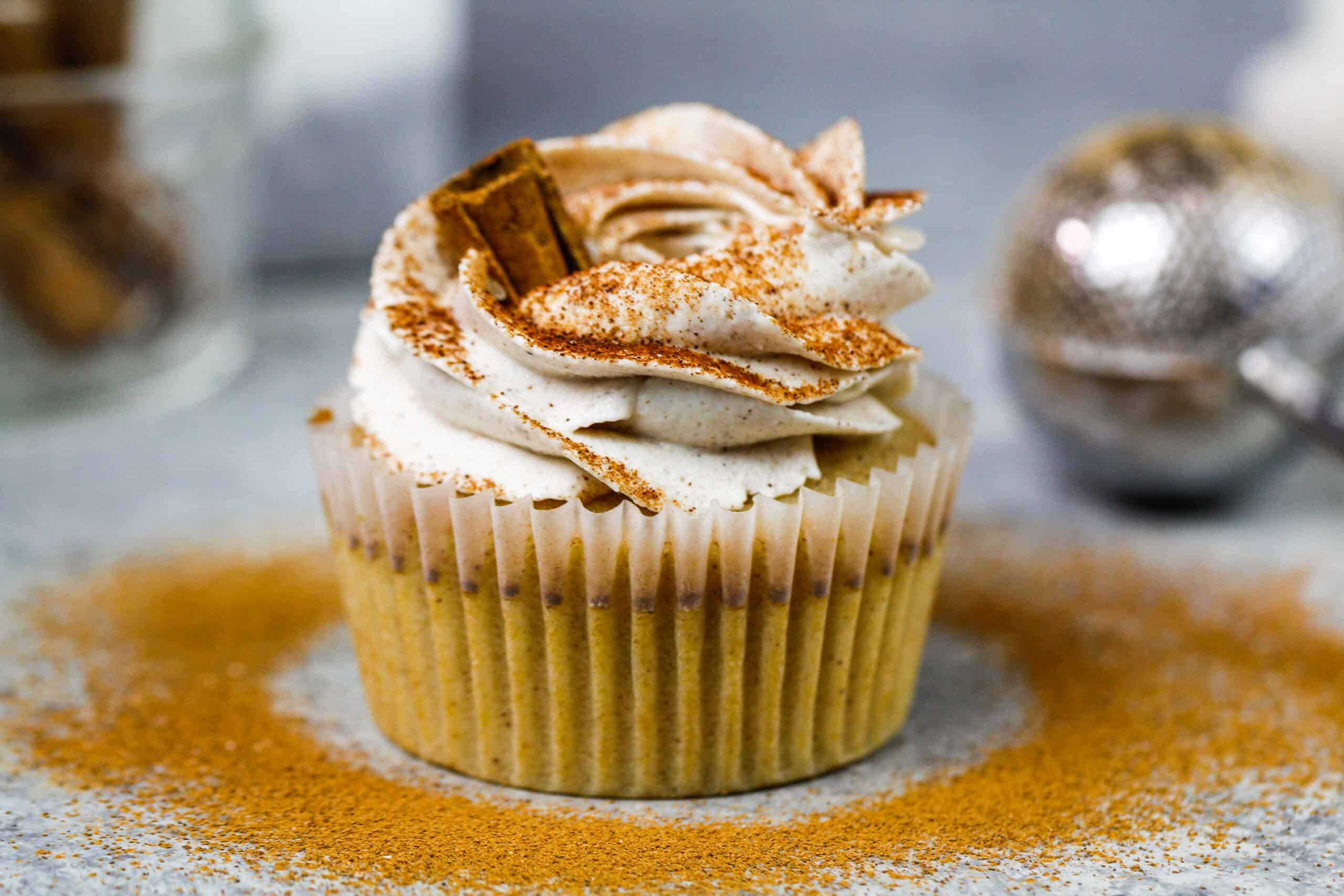 image of cinnamon cupcake recipe made with cinnamon buttercream frosting