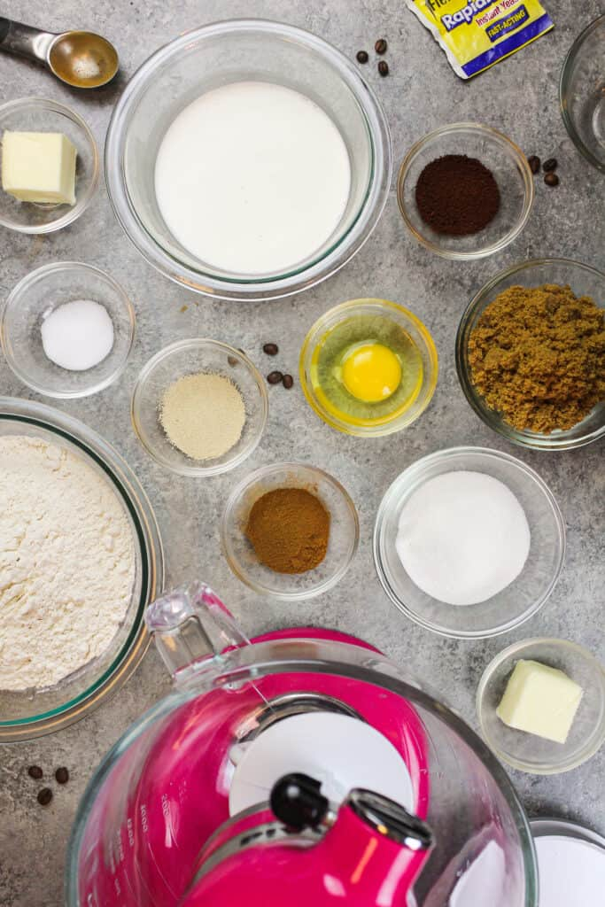 image of ingredients laid out on a counter ready to make maple bacon cinnamon rolls