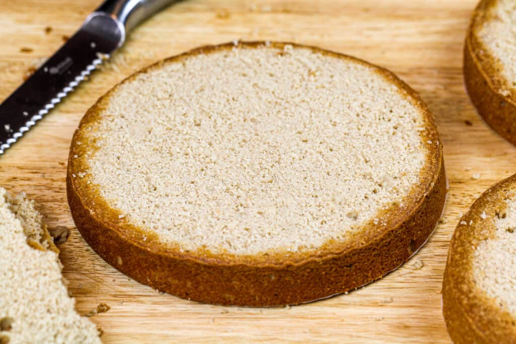 image of brown sugar cinnamon spice cake layers baked and leveled using a serrated knife