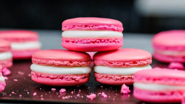 image of french macarons that were made using this macaron troubleshooting guide
