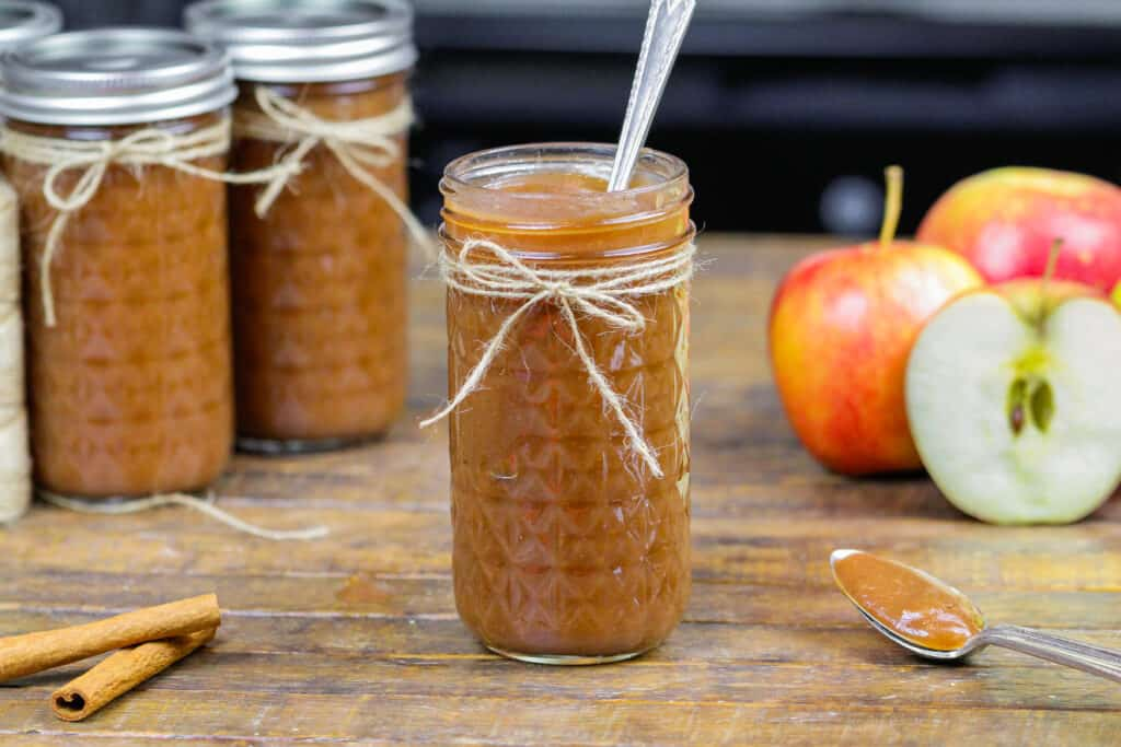 image of pressure cooker apple butter in a mason jar