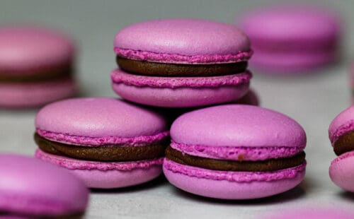 image of purple italian macarons made by chelsweets