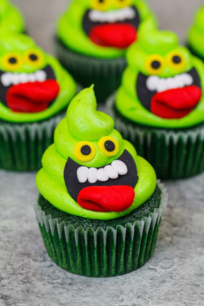 image of slimer ghostbuster cupcakes made with lime cupcakes