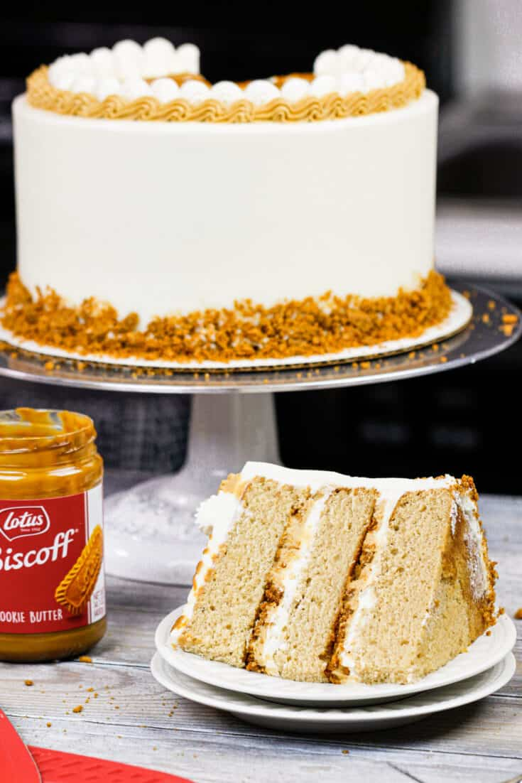 image of a biscoff cookie butter cake made with biscoff frosting and brown sugar spice cake layers