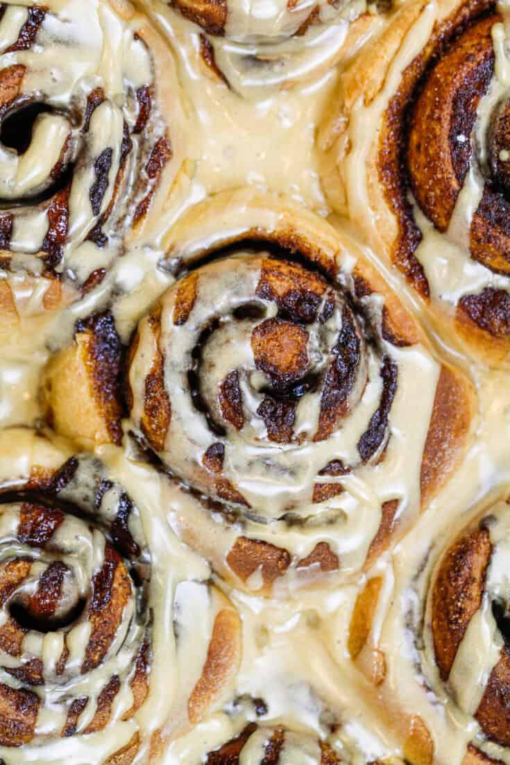 image of coffee cinnamon rolls covered in coffee glaze