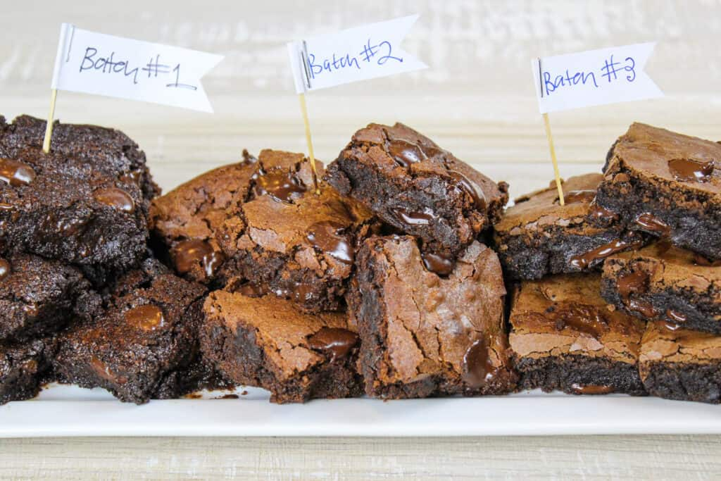image of 3 batches of dairy free brownies made during recipe testing