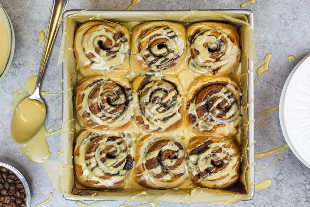 image of espresso cinnamon rolls glazed and ready to be served