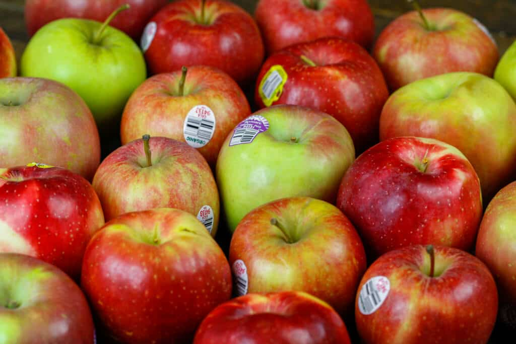 image of apples on a board ready to be baked with