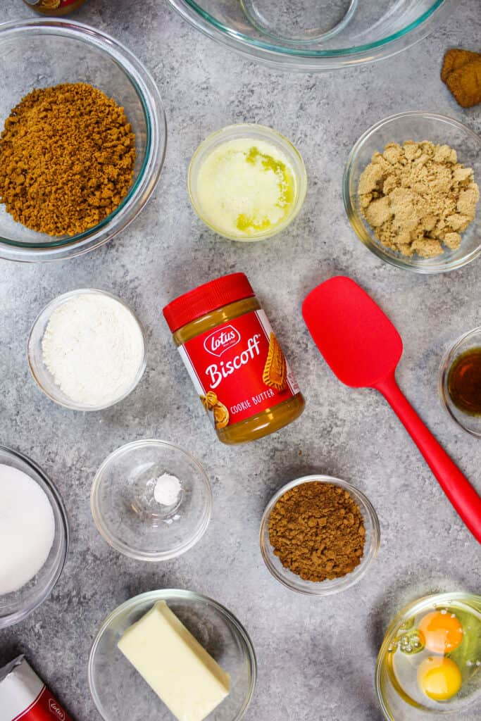 image of ingredients laid out to make a biscoff brownie recipe