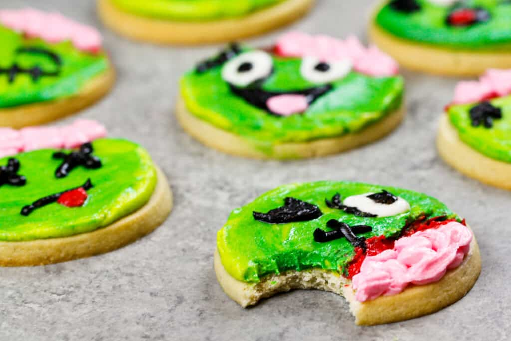 image of a zombie cookie that's been bitten into to show how soft and chewy the cookie is