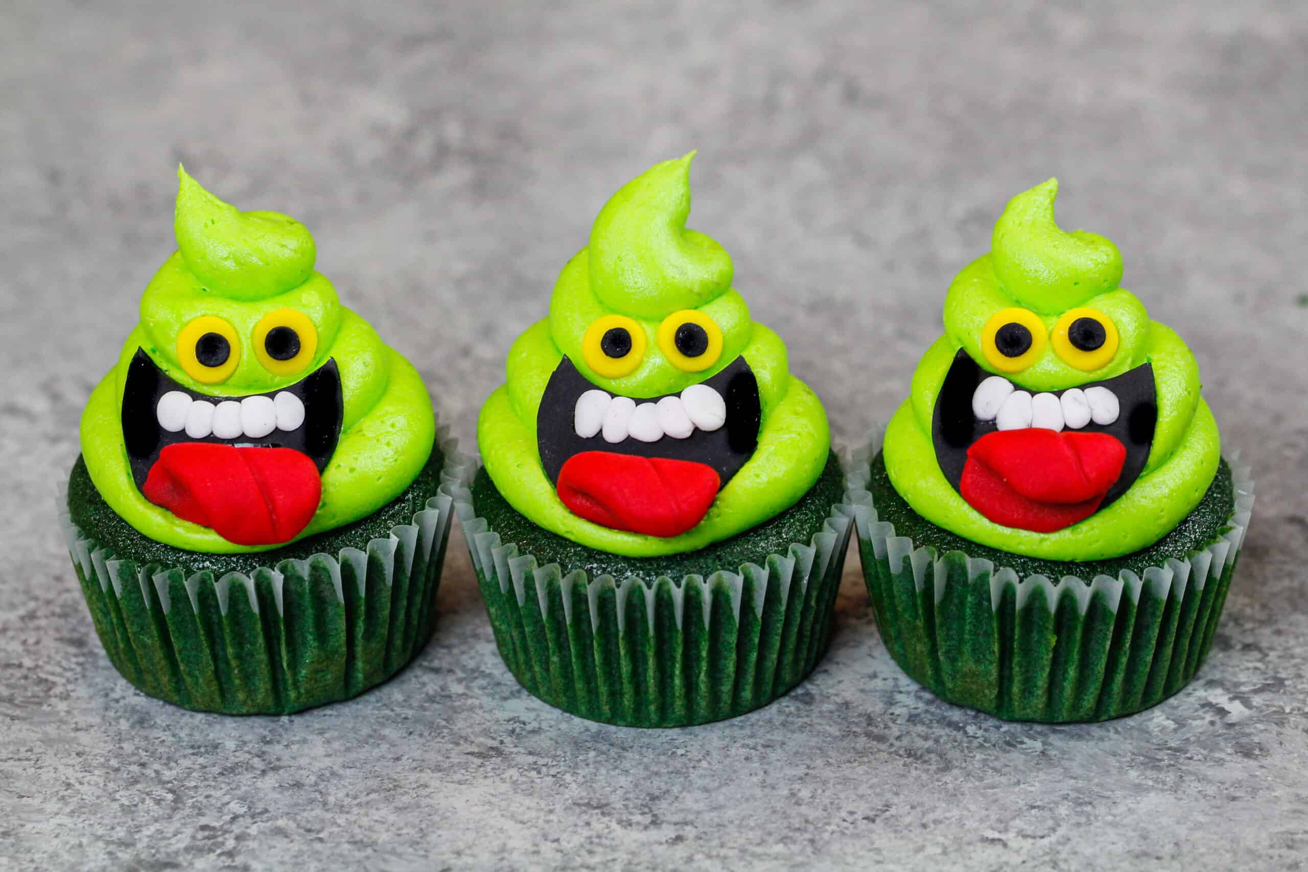 image of slimer cupcakes on counter