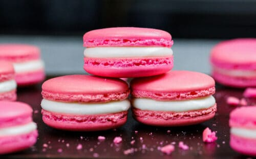 image of french macarons along with step by step tutorial