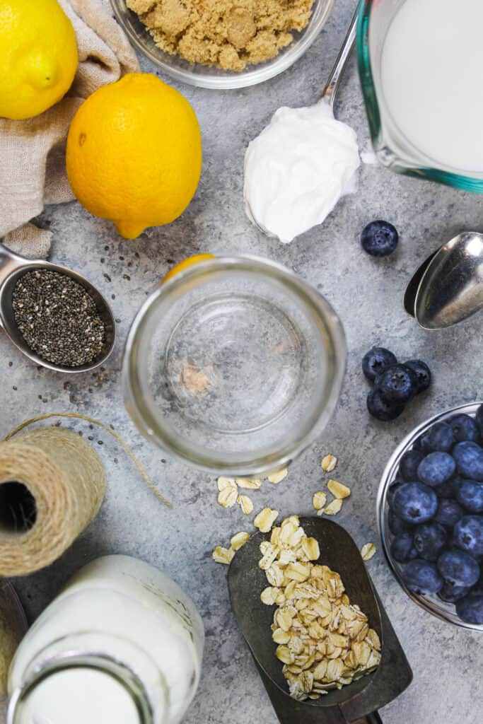 image of ingredients laid out to make lemon blueberry overnight oats