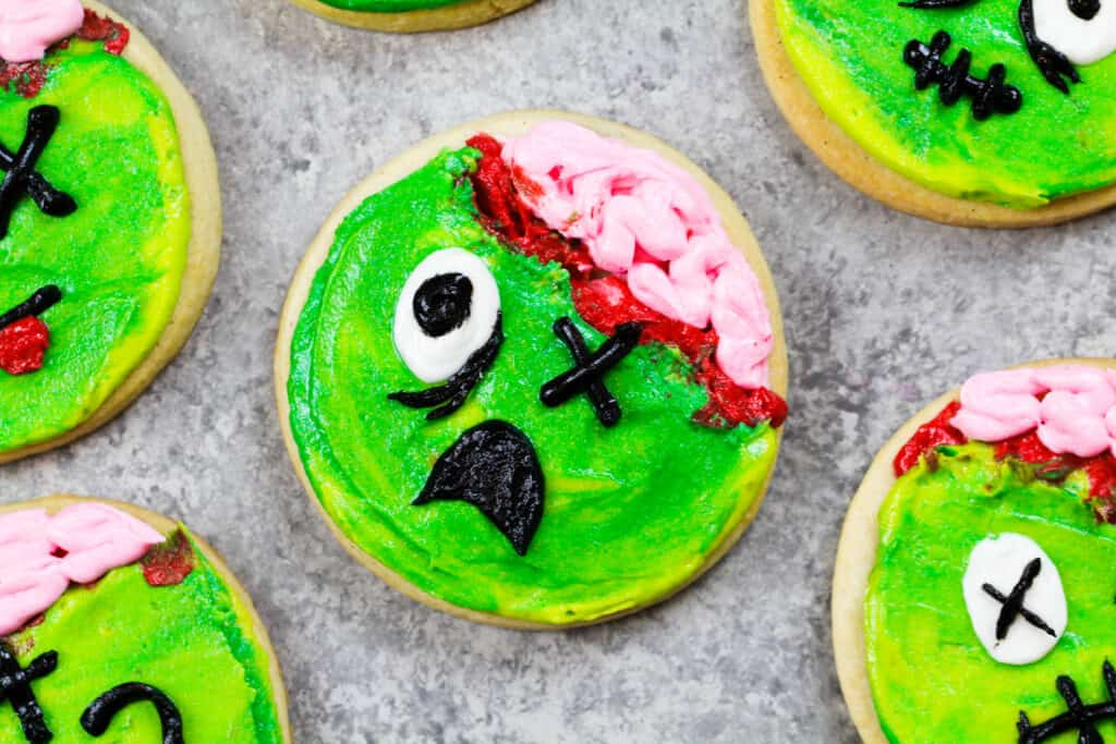 image of zombie cookies made with soft cream cheese cookies and homemade buttercream frosting
