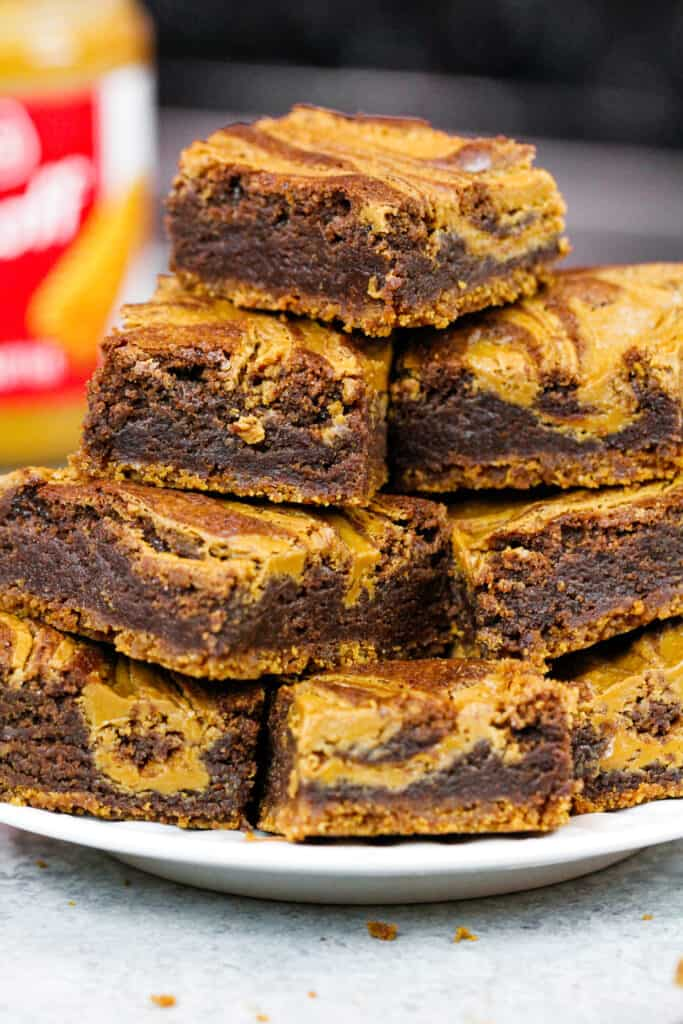 image of biscoff brownies stacked on a plate