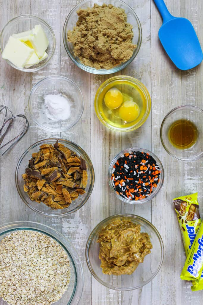 image of ingredients laid out to make monster cookies with quick oats and chunk peanut butter