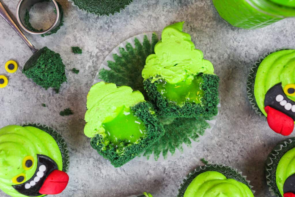 image of ghostbuster cupcakes filled with lime curd to look like ectoplasm