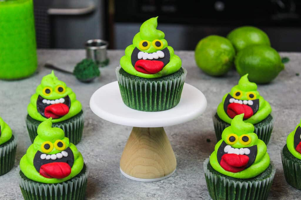 image of ghostbuster cupcakes decorated to look like slimer