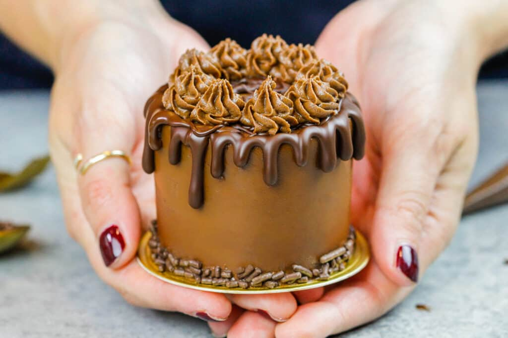 image of a mini chocolate cake made with 3-inch cake layers