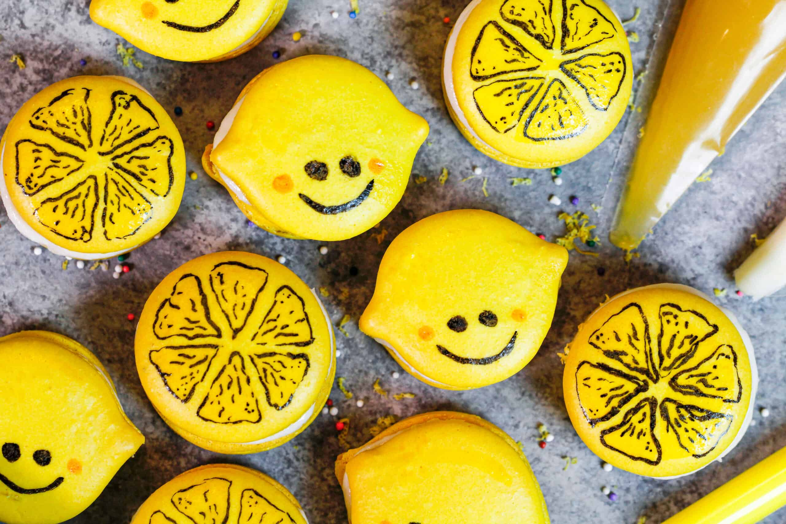 image of adorable and cute lemon macarons that have been decorated with an edible marker