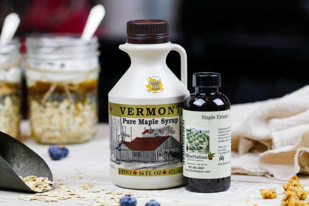 image of maple syrup from vermont and maple extract.