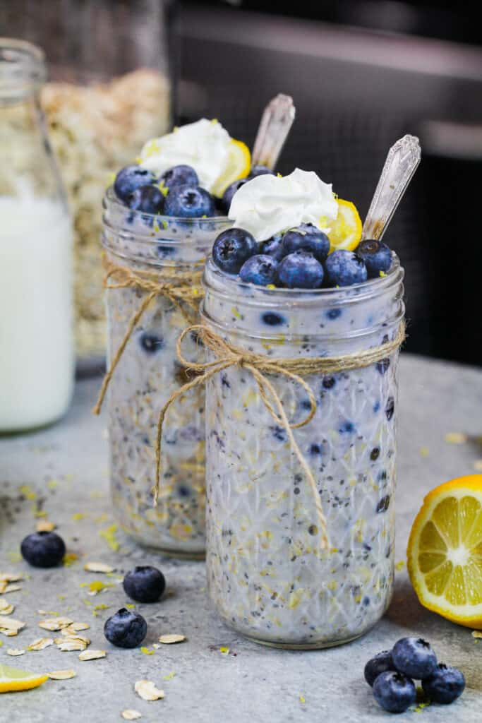 image of blueberry overnight oats made in a cute mason jar