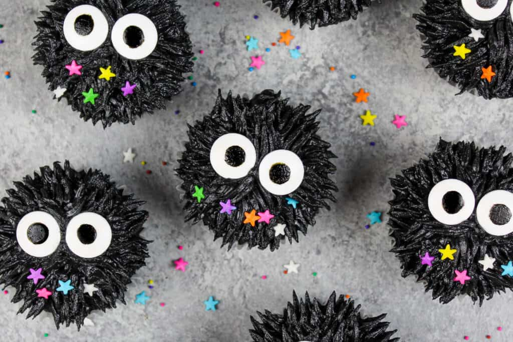 image of soot sprite cupcakes from spirited away and totoro