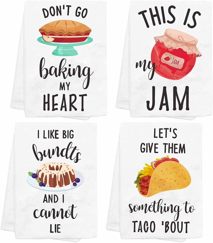 image of funny baking towels included in a list of funny gifts for bakers