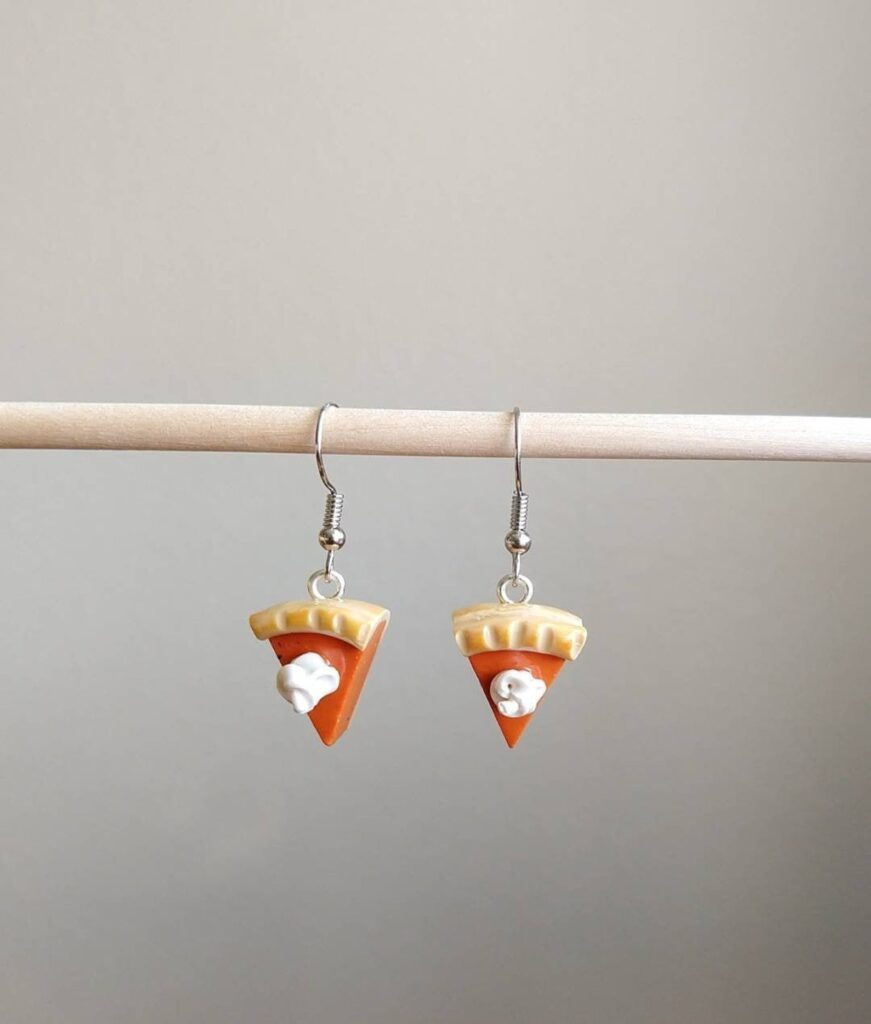image of pumpkin pie earrings included in a list of ideas of gifts for bakers