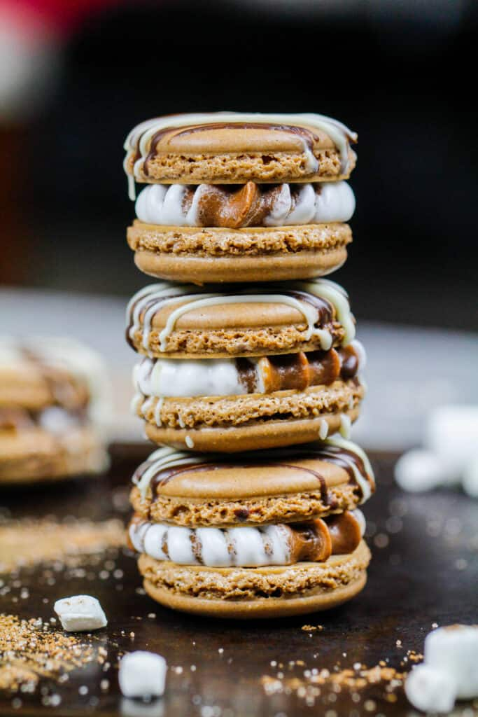 image of hot cocoa macarons filled with chocolate and marshmallow buttercream