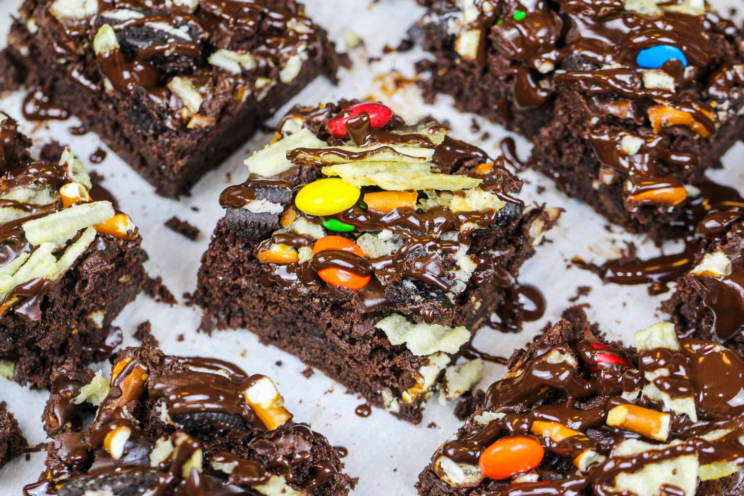 image of kitchen sink brownies topped with potato chips, pretzels, oreos and M&Ms