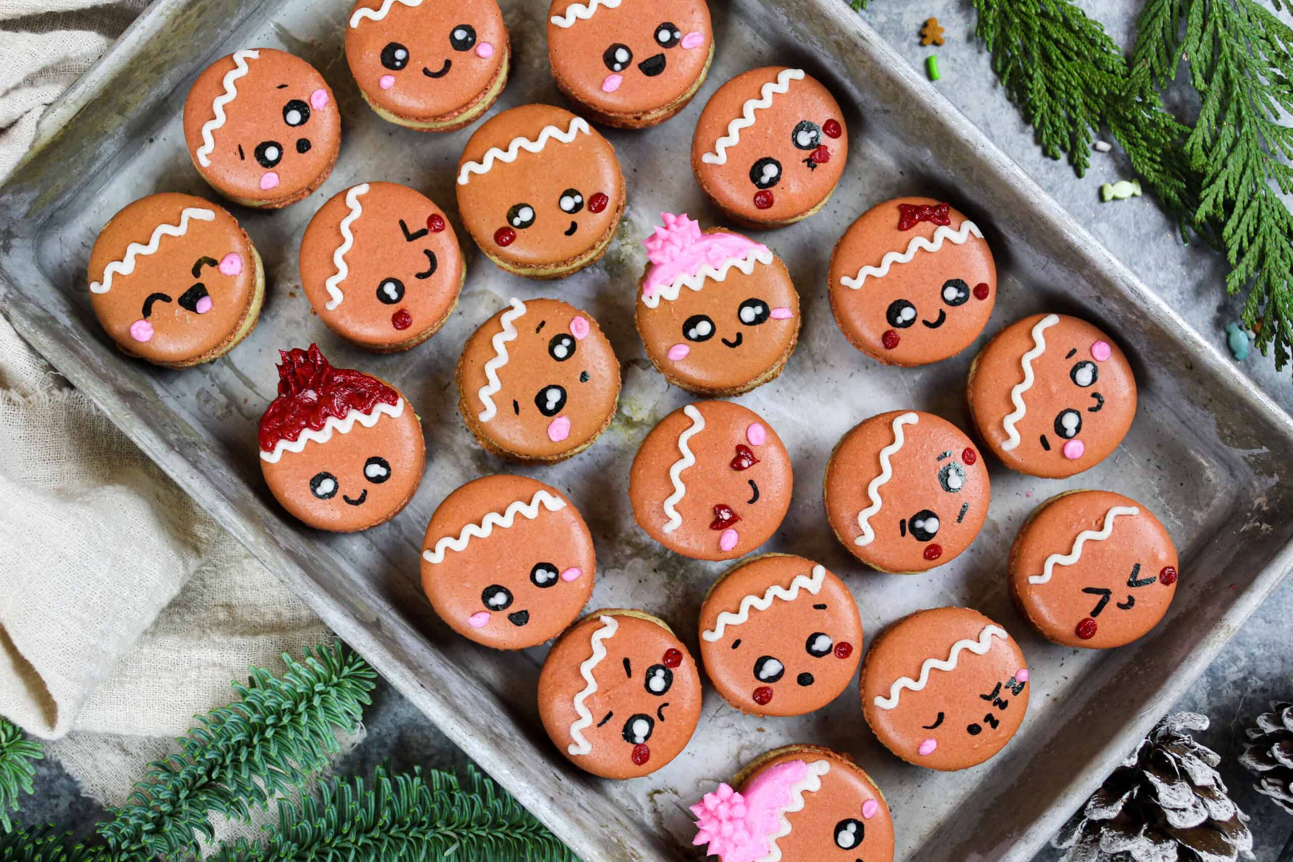 image of adorable gingerbread macarons