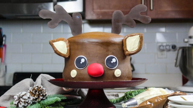 image of rudolph cake frosted with peanut butter chocolate frosting and chocolate antlers